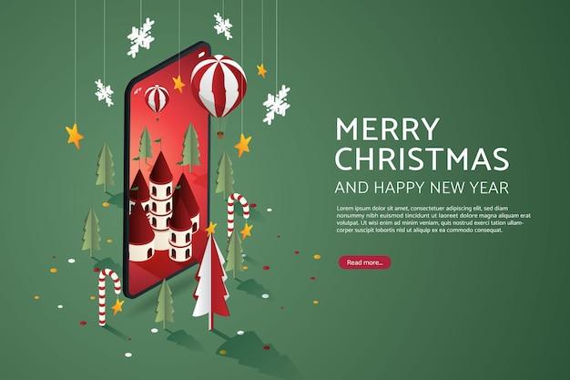 Weihnachtsstadtspielzeugwunderland fantastischer ballonweihnachtsbaum auf dem smartphone