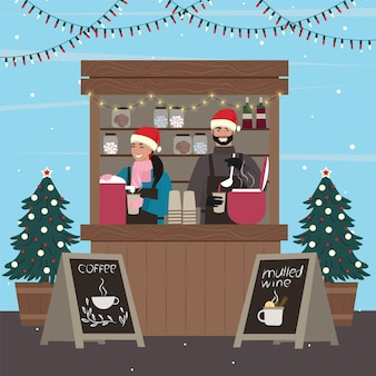 Weihnachtsstände. frau und mann verkaufen kaffee und glühwein am kiosk.vector illustration.