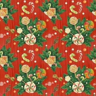 Weihnachtsstechpalme verfolgte rotes nahtloses muster des aquarells mit zuckerstangen- und lutscherblumenstrauß