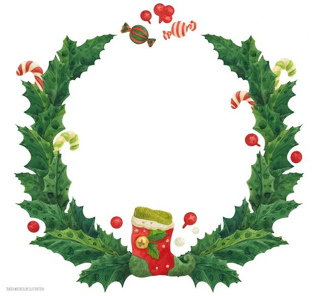 Weihnachtsstechpalmenkranz mit strumpf und zuckerstangen, aquarellillustration