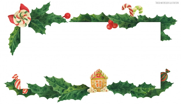 Weihnachtsstechpalmenvorsatz mit lebkuchenhaus und süßigkeiten