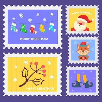 Weihnachtsstempel-feiertagsaufkleber in der hand gezeichneten design-briefmarkensatz weihnachtsstempel