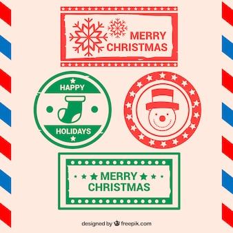 Weihnachtsstempel in rot und grün