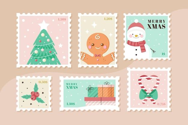 Weihnachtsstempelsammlung im flachen design