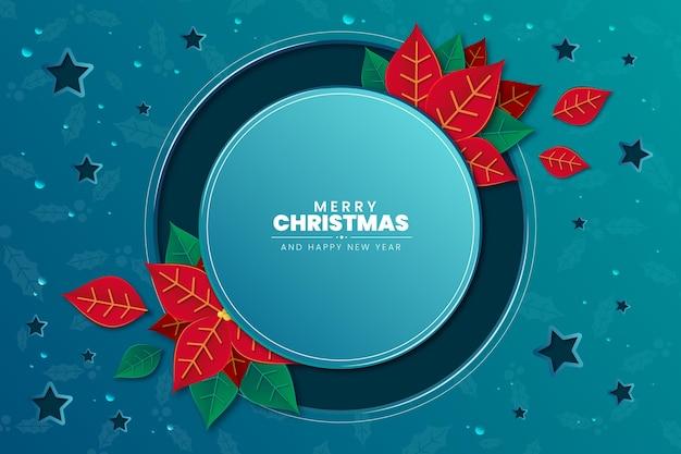 Weihnachtsstern-blumenhintergrund im papierstil