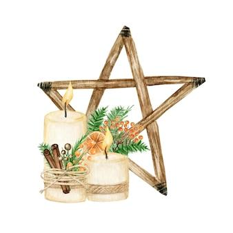 Weihnachtsstern holzdekoration boho-stil mit kerze. aquarell weihnachtsbaum umweltfreundliches dekor.