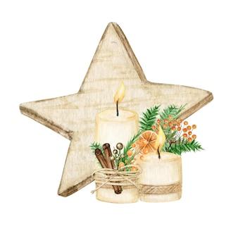 Weihnachtsstern holzdekoration boho-stil mit kerze. aquarell-winterillustration lokalisiert auf weißem hintergrund.