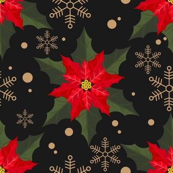 Weihnachtsstern weihnachten blüht nahtloses muster.