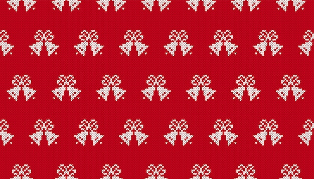 Weihnachtsstrickmuster. nahtloser druck mit weihnachtsglocken. rote strickpullover textur. festlicher hintergrund