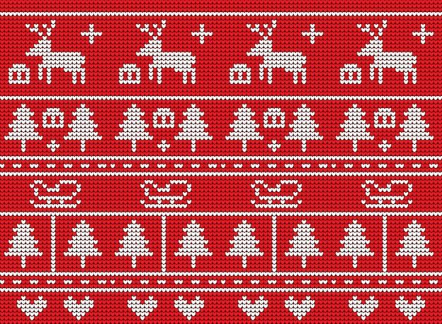 Weihnachtsstrickmuster-vektordesign auf rotem hintergrund.