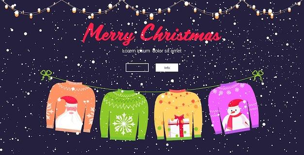 Weihnachtsstrickpullover traditionelle strickpullover mit verschiedenen drucken weihnachtsmann schneeflocke geschenkbox schneemann frohe weihnachten frohe neujahrsfeier