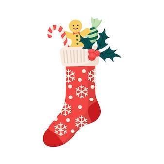 Weihnachtsstrümpfe mit traditionellen feiertagsverzierungen mit lebkuchenmann, süßigkeiten, bonbons. kinderkleidungselemente mit weihnachtsmustern mit geschenken, überraschungen. socken mit schneeflocken