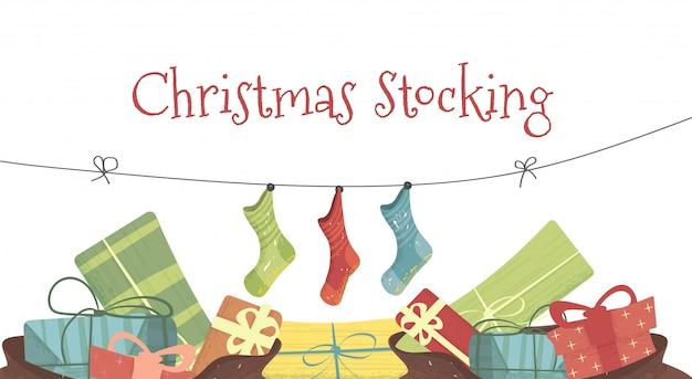 Weihnachtsstrumpf cartoon illustration