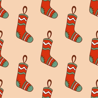 Weihnachtsstrumpf muster hintergrund social media post weihnachtsdekoration vektor illustration