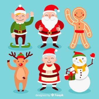 Weihnachtssüße zeichensammlung im flachen design Kostenlosen Vektoren
