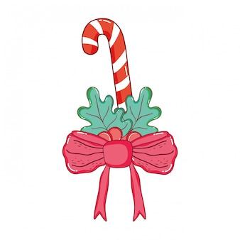 Weihnachtssüßer stock mit kranz