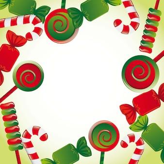Weihnachtssüßigkeiten mit platz für kopienvektorillustration