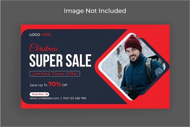 Weihnachtssuperverkauf-social-media-banner und web-banner-vorlage premium-vektor