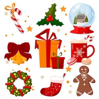 Weihnachtssymbole gesetzt. bunte weihnachtsikonen lokalisiert