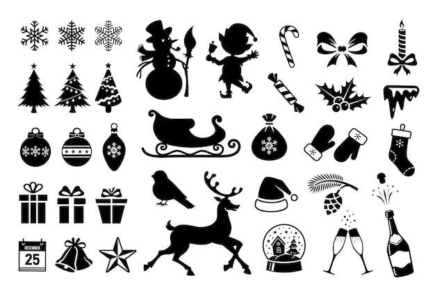 Weihnachtssymbole. weihnachtsschattenbilder getrennt auf weißem hintergrund. vektor winter schwarze symbole