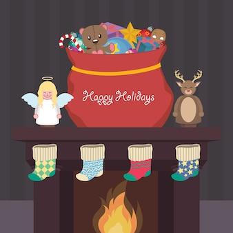 Weihnachtsszene mit geschenken, nussknackern und strümpfen