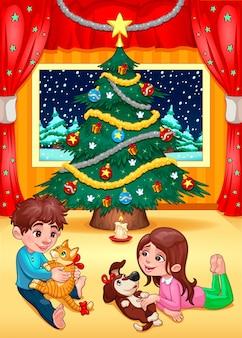 Weihnachtsszene mit kindern und haustieren cartoon vektor-illustration