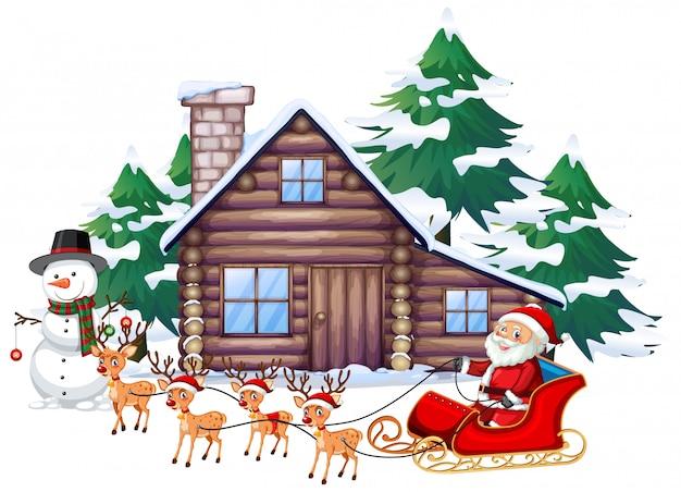 Weihnachtsszene mit weihnachtsmann auf schlitten