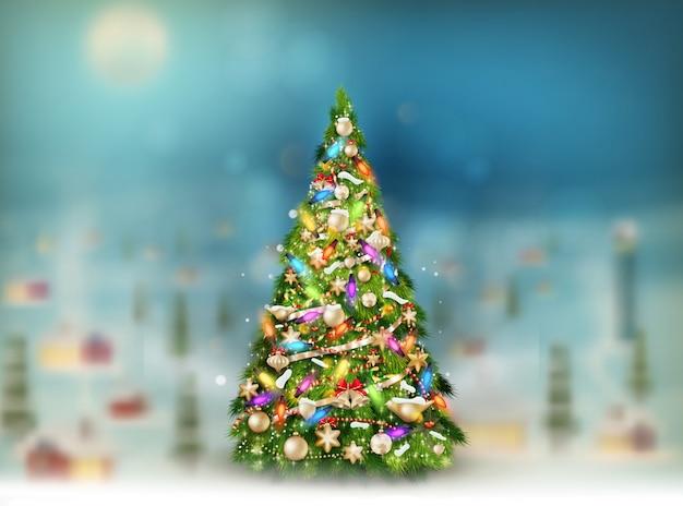 Weihnachtsszene, schneefall bedeckt kleines dorf mit baum.