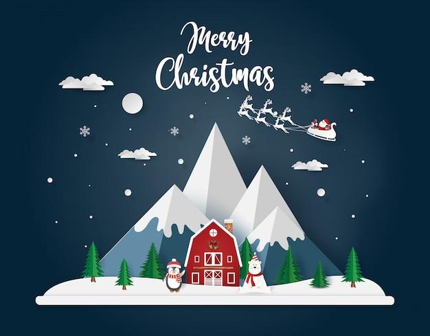Weihnachtstag mit pinguin und bär