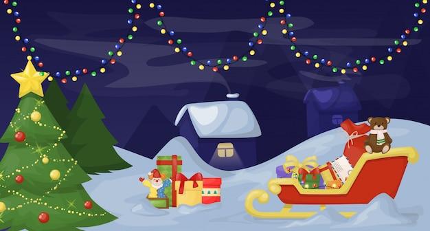 Weihnachtstannenbaum mit dekoration auf dunklem schneebedecktem hintergrund