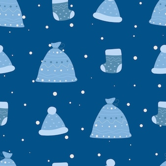 Weihnachtstasche weihnachtsmütze socke nahtlose muster neujahr muster lager vektor-illustration
