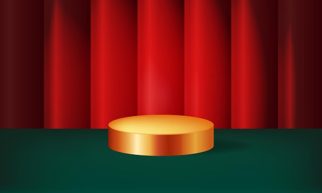 Weihnachtsthema anzeige podium layout goldene bühne realistischer vorhang hintergrund