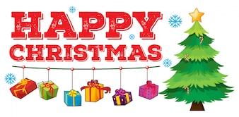 Weihnachtsthema mit Baum und Verzierungen