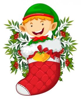 Weihnachtsthema mit elfe in der roten socke