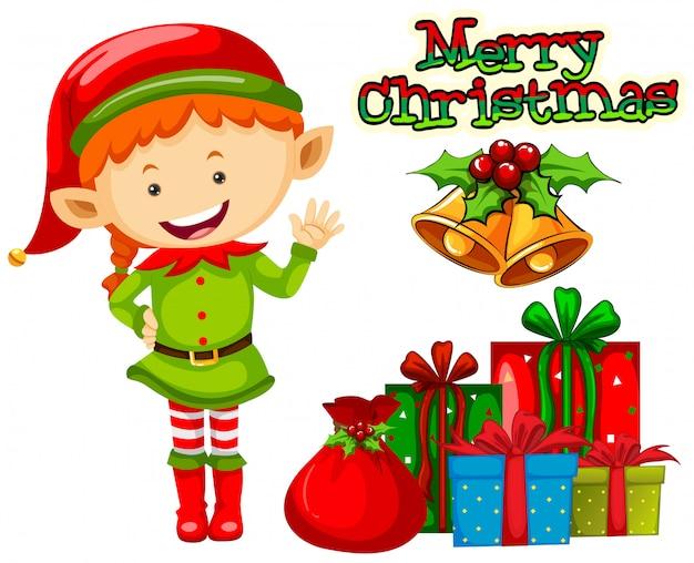 Weihnachtsthema mit elfe und geschenken