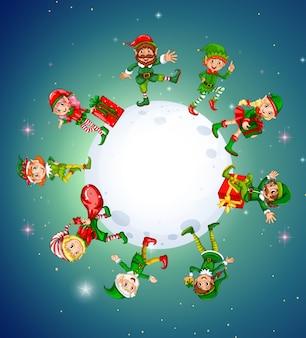 Weihnachtsthema mit elfen um den mond