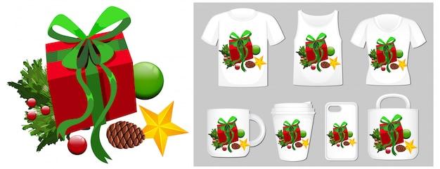 Weihnachtsthema mit geschenkbox auf vielen produkten