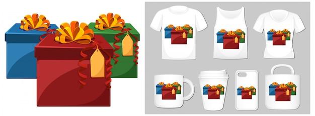 Weihnachtsthema mit geschenken auf vielen produkten