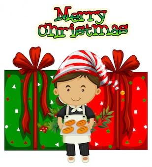 Weihnachtsthema mit koch und geschenken