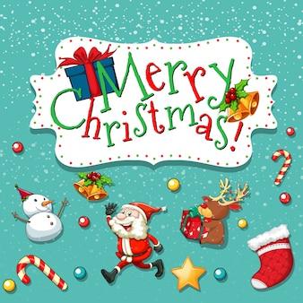 Weihnachtsthema mit sankt und schneemann