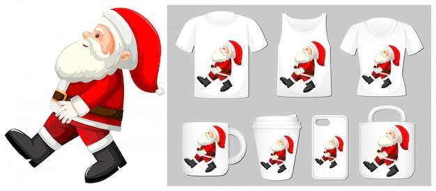 Weihnachtsthema mit santa auf produktvorlagen