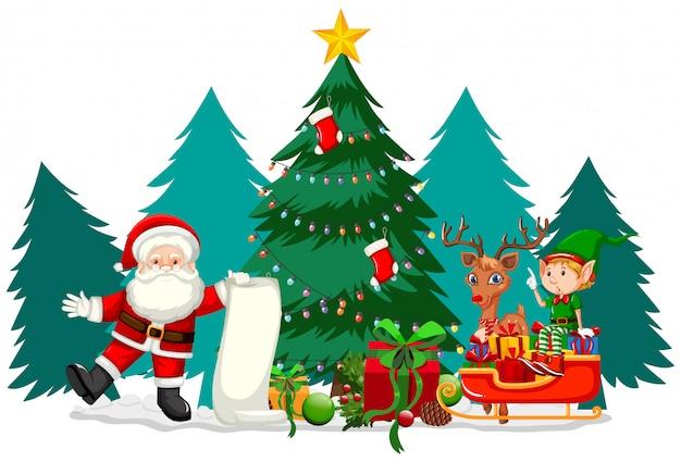Weihnachtsthema mit santa und seiner liste