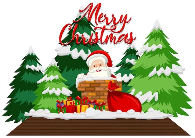 Weihnachtsthema mit weihnachtsmann auf dem dach
