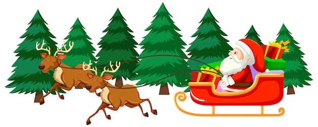 Weihnachtsthema mit weihnachtsmann auf schlitten