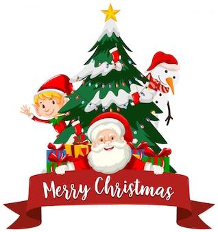 Weihnachtsthema mit weihnachtsmann und baum