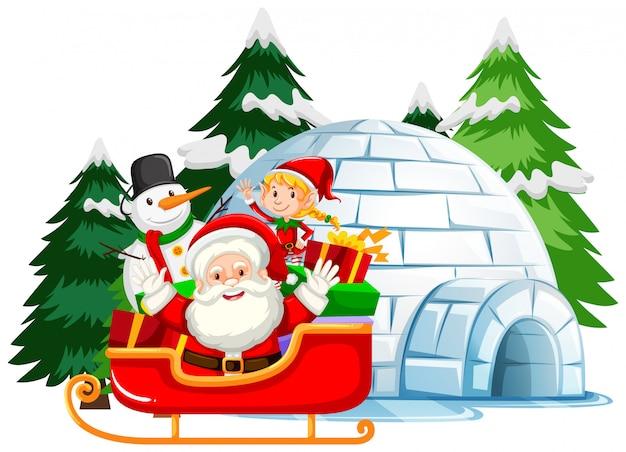 Weihnachtsthema mit weihnachtsmann und elfe auf schlitten