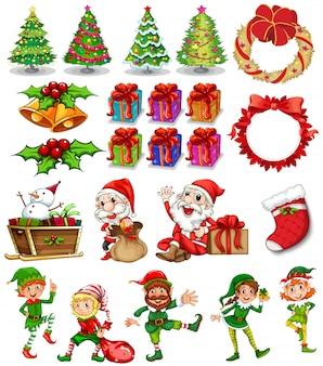 Weihnachtsthema mit weihnachtsmann und ornamenten