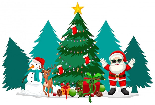Weihnachtsthema mit weihnachtsmann und schneemann