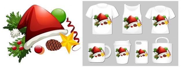 Weihnachtsthema mit weihnachtsmütze auf vielen produkten