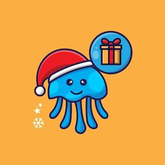 Weihnachtsthema süßes tintenfischdesign
